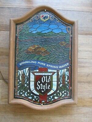Vintage HEILEMAN OLD STYLE Spring Water Faux Stained Glass Lighted Beer Sign