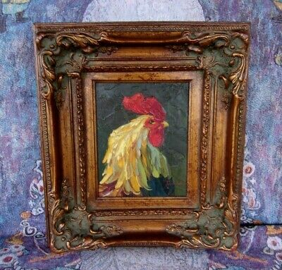 Mexico Rooster Portrait,Signed of Oil Painting On Canvas, Antique Ornate Frame