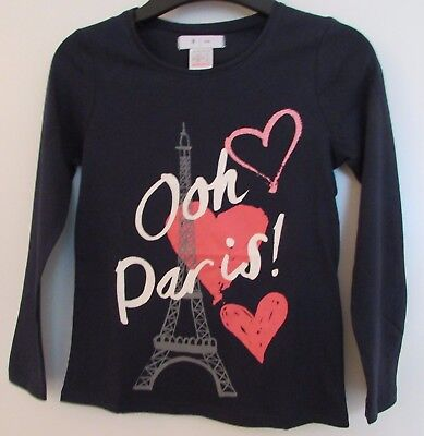New Girls Long Sleeve Top By La Redoute Ooh Paris Navy Mix Printed 6 Years