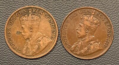 1914 and 1919 Canada One Cent - 2 Coin Lot