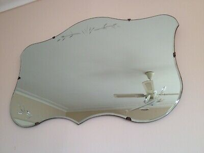 Vintage 1950s Frameless Art Deco Mirror With Etched Design