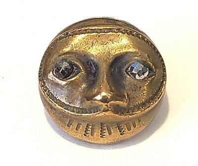 Antique Metal Button…Wonderful Brass Mask Face with Cut Steel Eyes…Last One