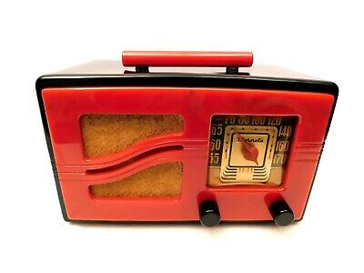 Vintage Antique Red & Black Motorola Old Gem Mint Catalin Bakelite Tube Radio