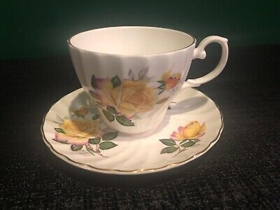 Crown Dorset Staffordshire England Fine Bone China Cup & Saucer Yellow Rose