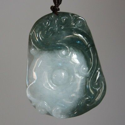 Certified Natural JADE Type A Untreated Oily Green White Jadeite Dragon Pendant