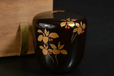 U9589: Japanese Wooden Lacquer ware TEA CADDY Natsume Chaire Container w/box