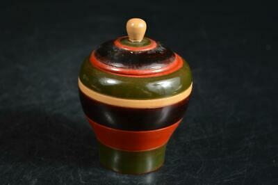 U9347: Japanese Wooden Top-shaped TEA CADDY Chaire Container Tea Ceremony