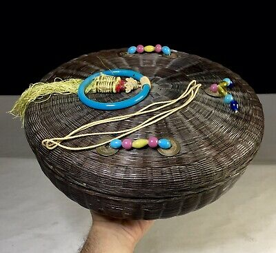 Vintage Antique Chinese Sewing Basket With Pekin Glass Beads Bangle 1920s China
