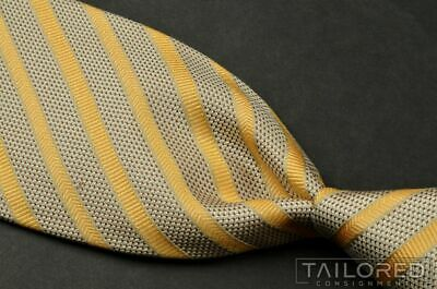 $150 New BRIONI Yellow Silver Spiral Silk Hand Rolled Pocket Square Handkerchief