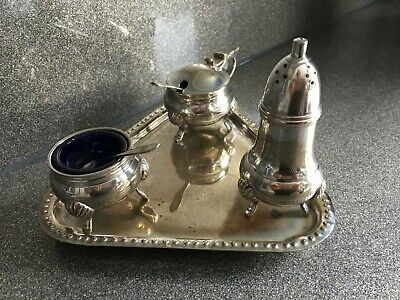 EPNS Cruet Set Including Spoons And Tray