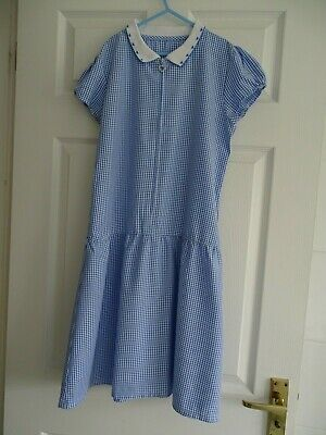 Girl's Knitted Collar Blue Gingham School Summer Dress from Matalan Age 13 Years