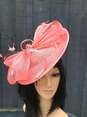 PETER BETTLEY CORAL WEDDING  DISC FASCINATOR Mother Of The Bride Hat OCCASION