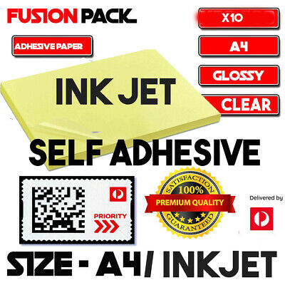 10 Pcs A4 Transparent Clear Glossy Self Adhesive Sticker Paper Label Inkjet Prin