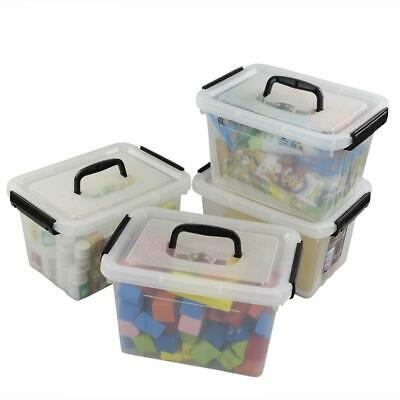 Ggbin 7 Quart Clear Latching Box with Black Handle - 4 Pack clear