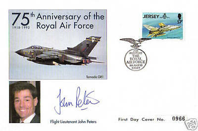Jersey 1993 Raf First Day Cover Hand Signed By Ex Gulf War Pow John Peters Shs