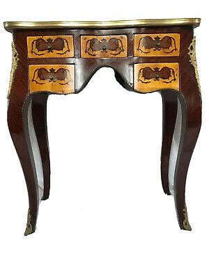 1 Small French Louis XVI Style Marquetry Escritoire Bronze Ormolu Writing Desk