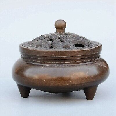 Collectable China Old Bronze Hand-Carved Bloomy Flower Delicate Incense Burner