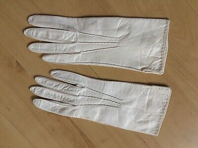 Vintage Ivory White Italian Leather Mid Length Gloves with Silk Lining