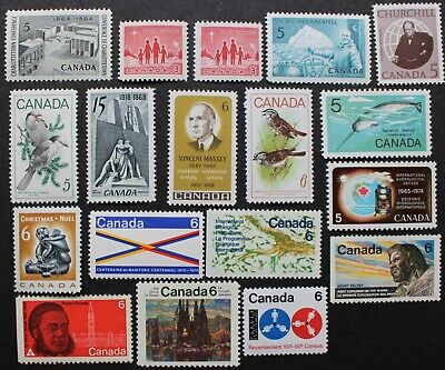 Canada lot of 18 mint never hinged stamps 1964 to 1971