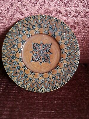 STUNNING Vintage ARTS AND CRAFTS wooden plate Carved wood  folk art