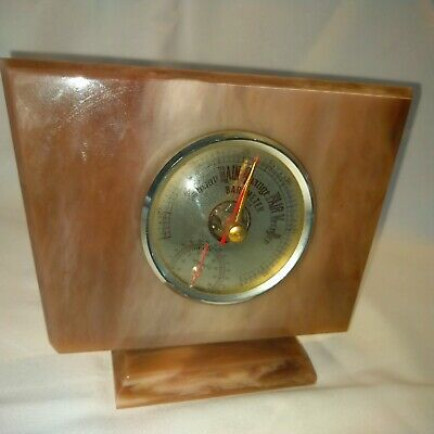 1960s Mantle Barometer, Thermometer, Onyx Style Plastic, Kitsch Design