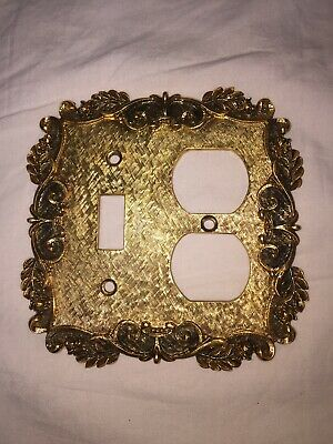 Vintage Brass Florenta of California Double Switch Plate Cover Gold Antique