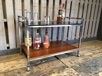 Vintage Retro Chrome Glass Teak Drinks Cocktail Trolley Side Table Mid Century