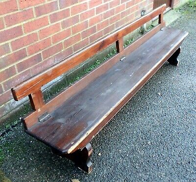 Victorian antique solid pine folding military campaign church bench settle pew