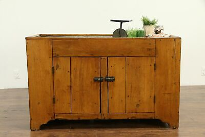 Country Pine Primitive Antique KItchen Pantry Dry Sink, Zinc Top, Ohio #33037