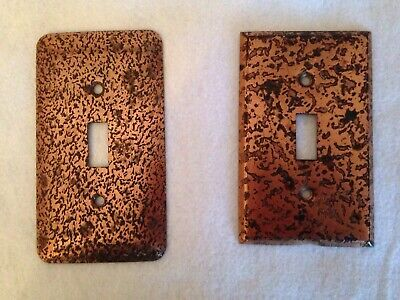 2 Vintage Hammered Copper Switch Plate Covers Single Toggle Arts Crafts Mission