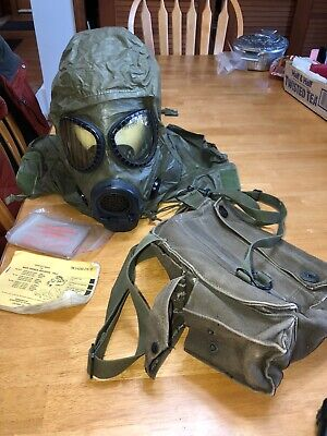 Vintage US Military M17A2 Gas Mask Attached Hood CHEMICAL BIOLOGICAL MASK & More