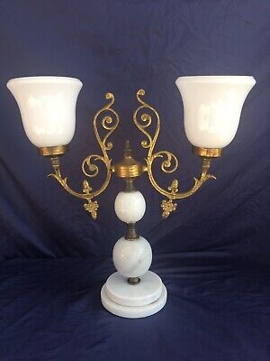 Gorgeous French White Marble - Milk Glass & Brass  Antique Lamp