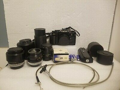 Working Canon A1 camera with 5 lenses, accessories  - full listing below