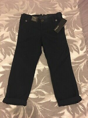 Boys M&S Autograph Smart Navy Blue Trousers Chino Style Age 2-3 Years BNWT