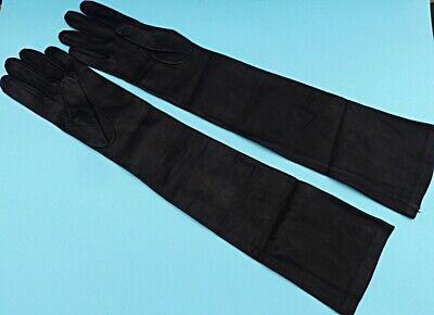 VINTAGE PAIR REAL BLACK LEATHER EVENING GLOVES BY WESTWARD BOUND small 51cm long