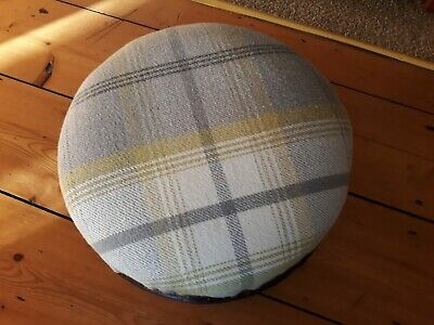 Antique Small Low Round Upholstered Footstool, Three Wooden Bun Feet