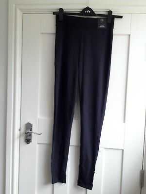 BNWT M&S Size 10 Long Navy Blue Leggings Wiv Button Detail on Ankle