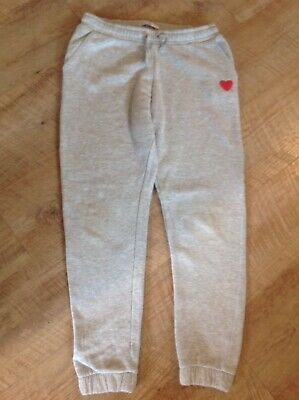 M&S Girls Grey Jogging Bottoms With Heart Design, For Girl Age 13-14, Lovely
