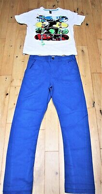 Chino Jeans Trousers Royal Blue & Skateboard T-Shirt Bundle Kids Age13-14years