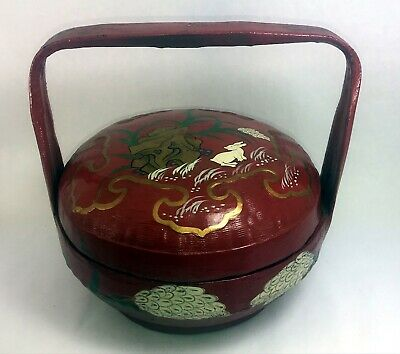 Vintage Red Gold Lacquer Peranakan Straits Chinese Wedding Basket Bunny Rabbit