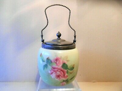 Antique Victorian Hand Painted Glass Biscuit Jar