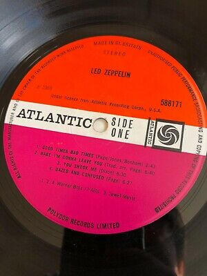 Led Zeppelin 1 Atlantic Red Plum A1 B1 VG Laminated Outer Silver Strip
