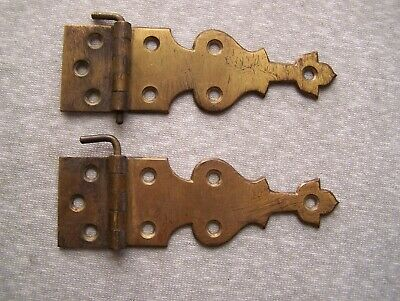Antique Vintage H & S Brass Ice Box Icebox Hinges Pair Usa