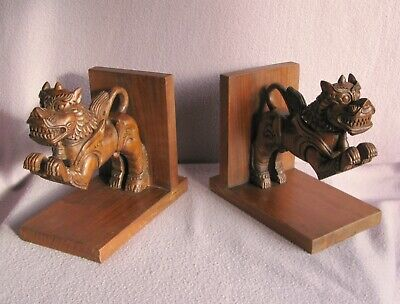 2 Vintage Carved Wood Chinese Nepal Temple Lions Fu Foo Dogs