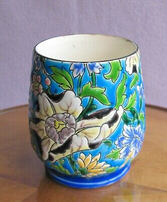 French Marked Gien Longwy Style Floral Enamel Art Pottery Vase