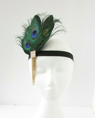 Black Gold Green Peacock Feather Headpiece 1920s Flapper Headband Hair Band 0019