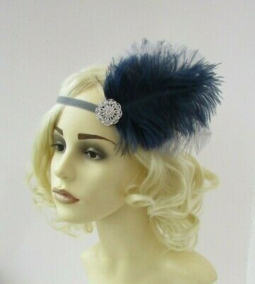 Navy Blue Grey Silver Feather Headpiece 1920s Flapper Headband Hair Band 0025