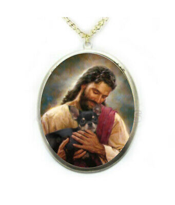 Jesus Black Chihuahua Dog Porcelain Cameo Necklace Handmade Jewelry Religious