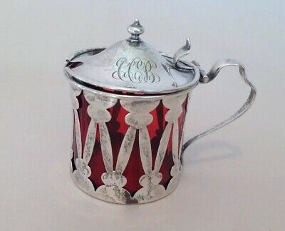 Antique Sterling Silver Pierced Condiment Mustard Jar Pot Cranberry Glass Insert
