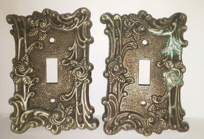 Lot of 2 -Brass American Tack & Howe Co. Light Switch Cover Floral Rose 1967 60T